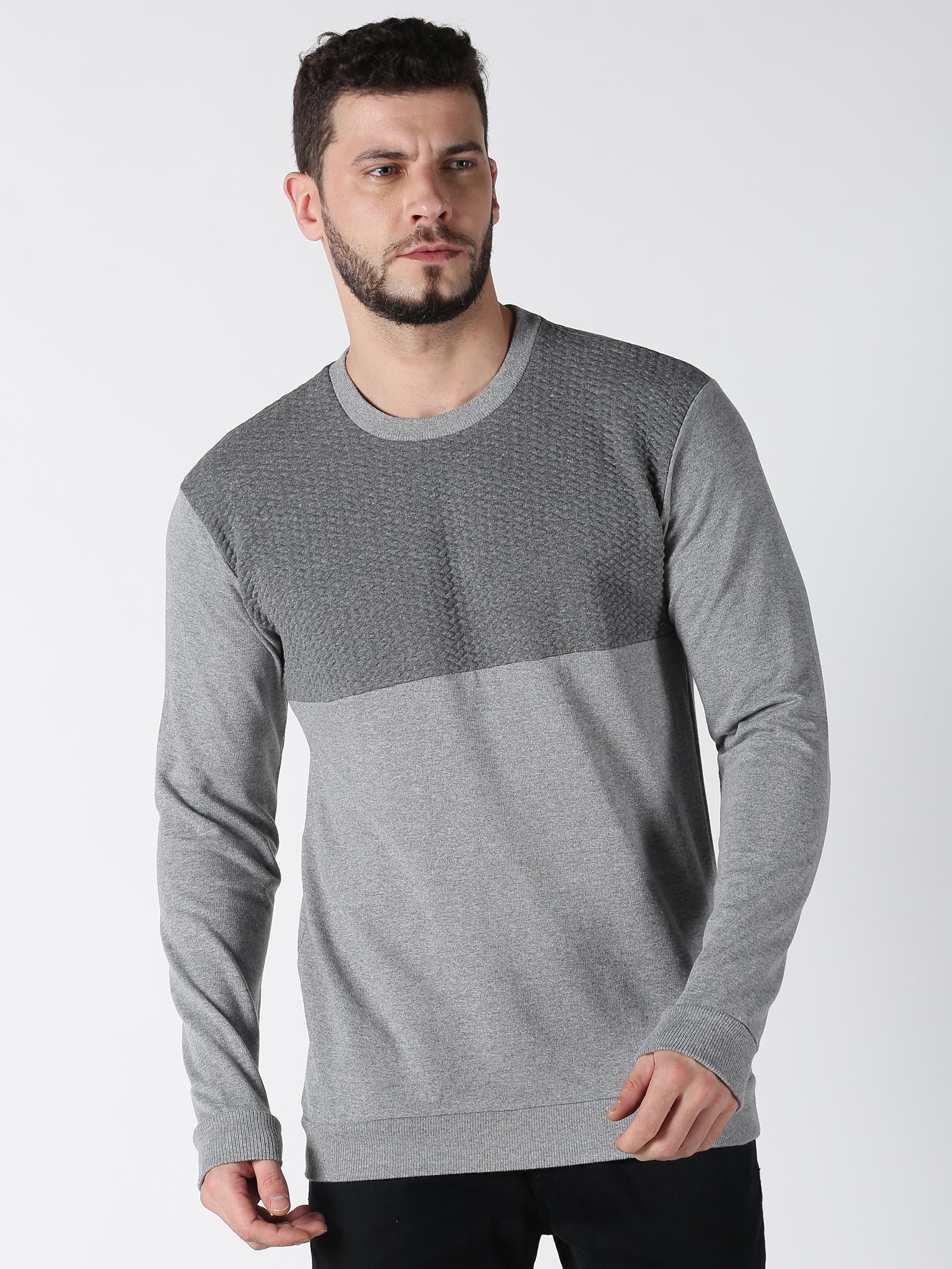 UrGear   Urgear Colourblock Round Neck Grey Sweatshirt