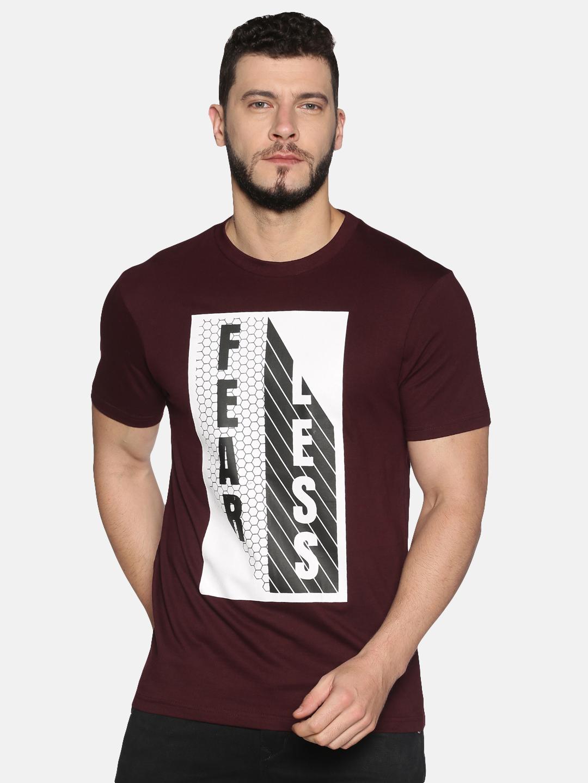 UrGear | UrGear Fear print Men Round Neck Maroon T-Shirt