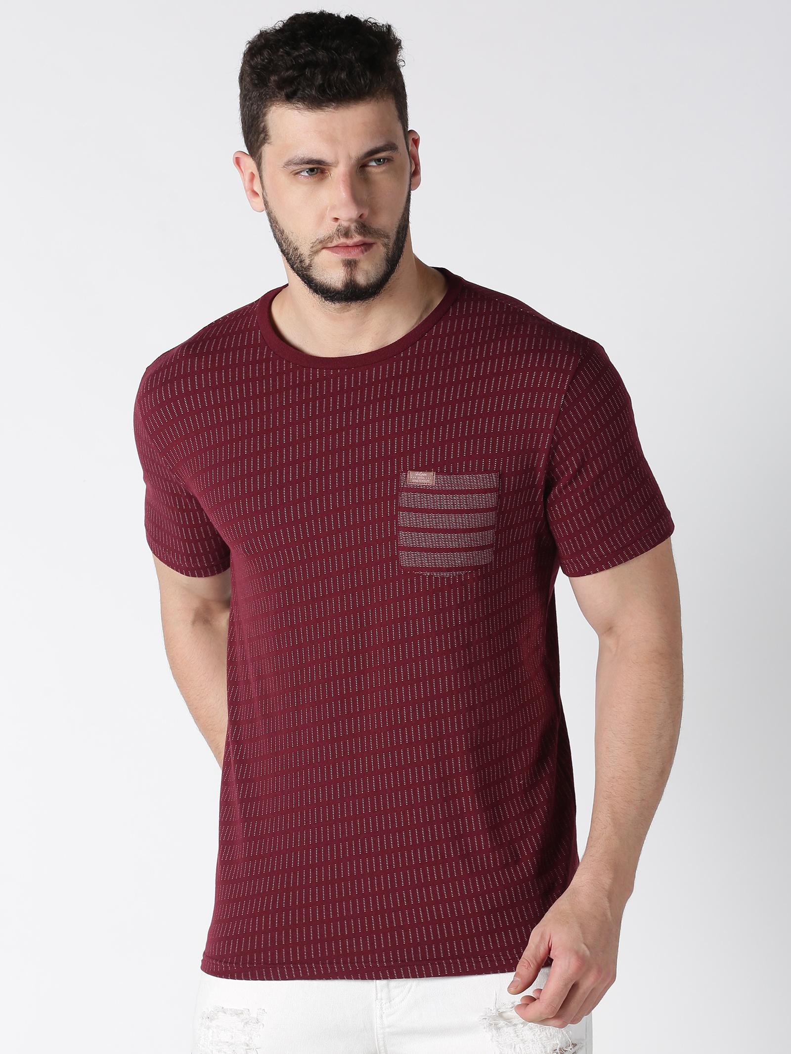 UrGear | UrGear Printed Men Round Neck Maroon T-Shirt