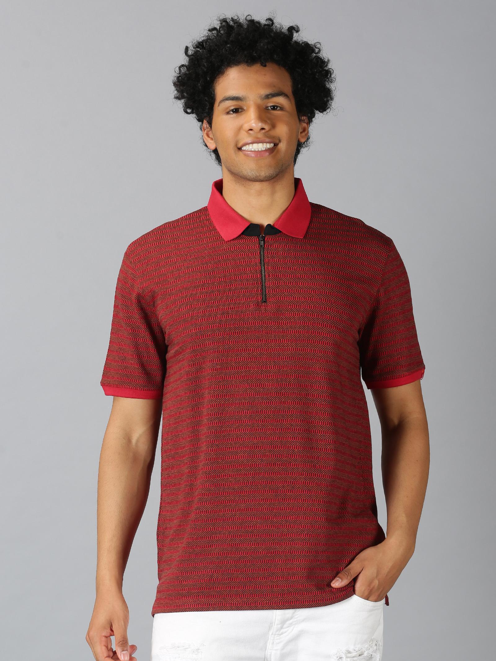 UrGear | UrGear Striped Men Polo Neck Red T-Shirt