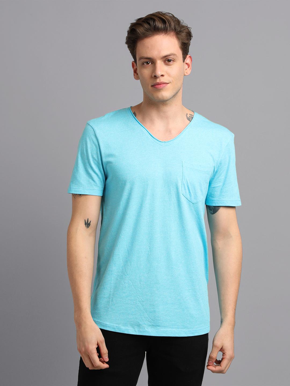 UrGear | UrGear Solid Men V- Neck BlueT-Shirt
