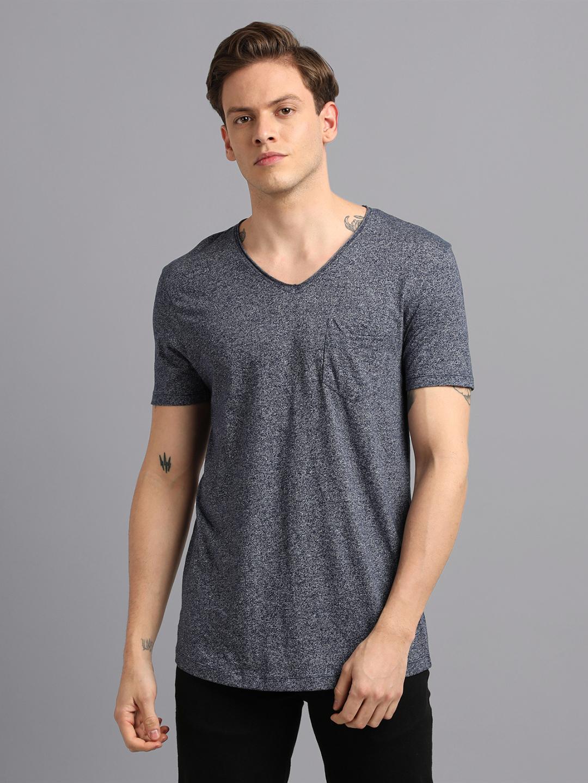 UrGear | UrGear Solid Men V- Neck Grey T-Shirt