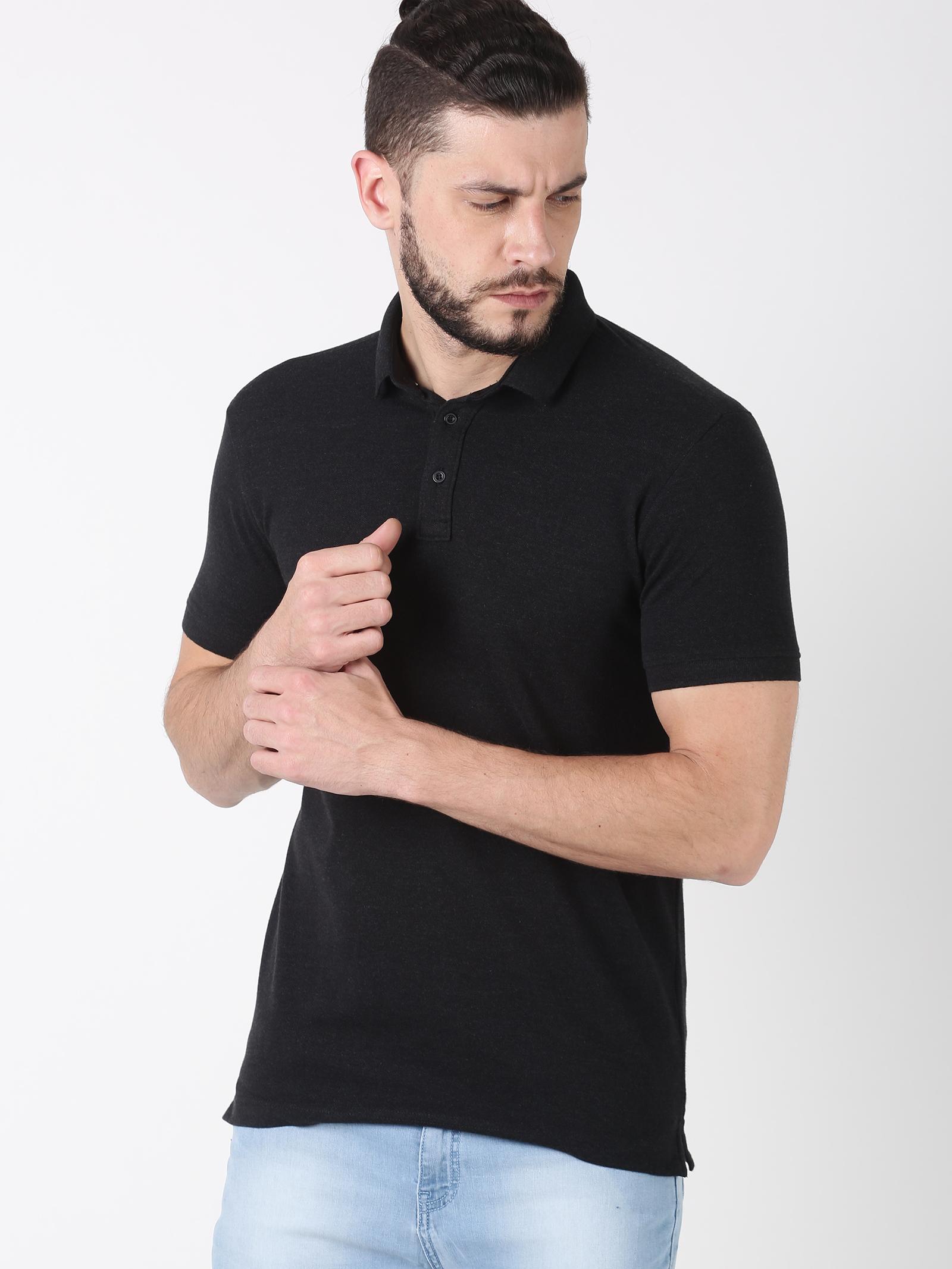 UrGear | UrGear Solid Men Polo Neck Black T-Shirt