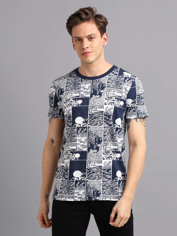 UrGear | UrGear Printed Men Round Neck Navy Blue T-Shirt