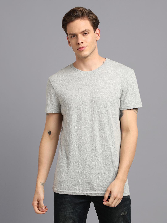 UrGear | UrGear Solid Men Round Neck Grey Melange T-Shirt