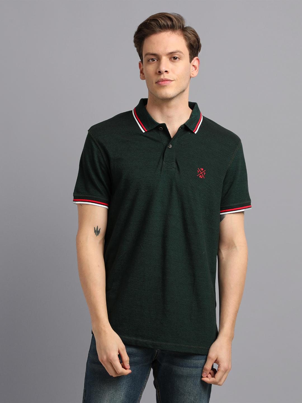 UrGear | UrGear Solid Men Polo Neck Green T-Shirt