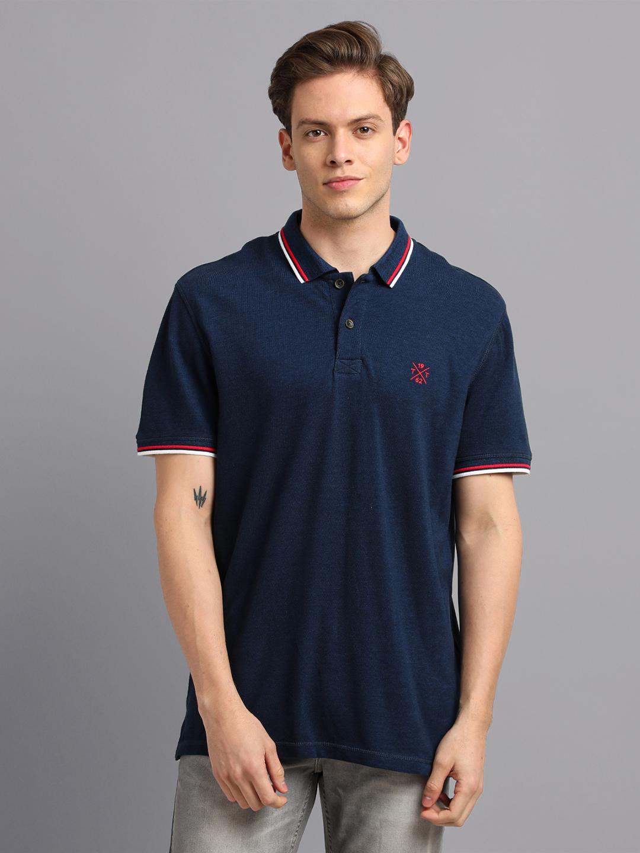 UrGear | UrGear Solid Men Polo Neck Blue T-Shirt