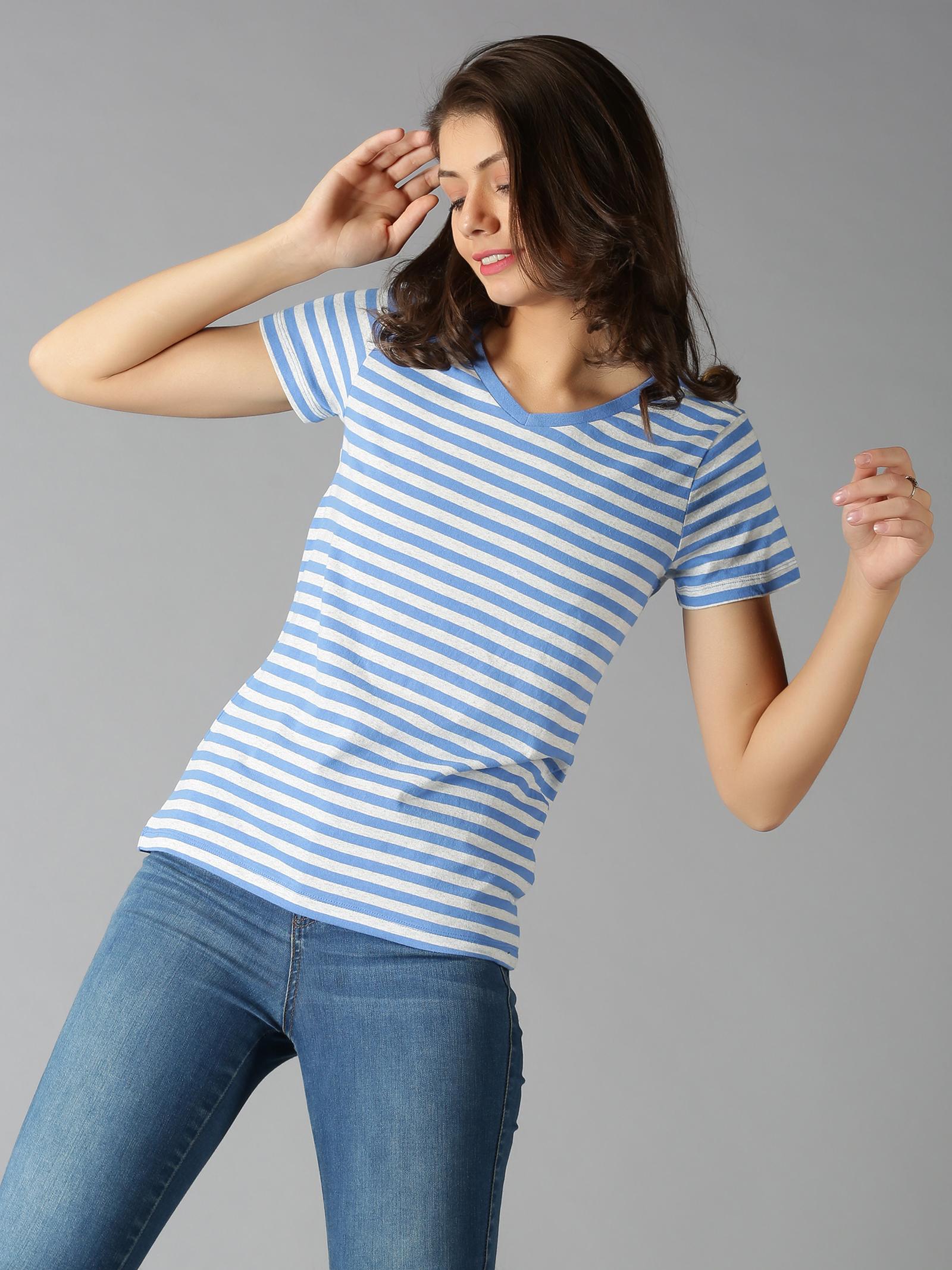 UrGear | UrGear Striped Women V Neck Blue T-Shirt