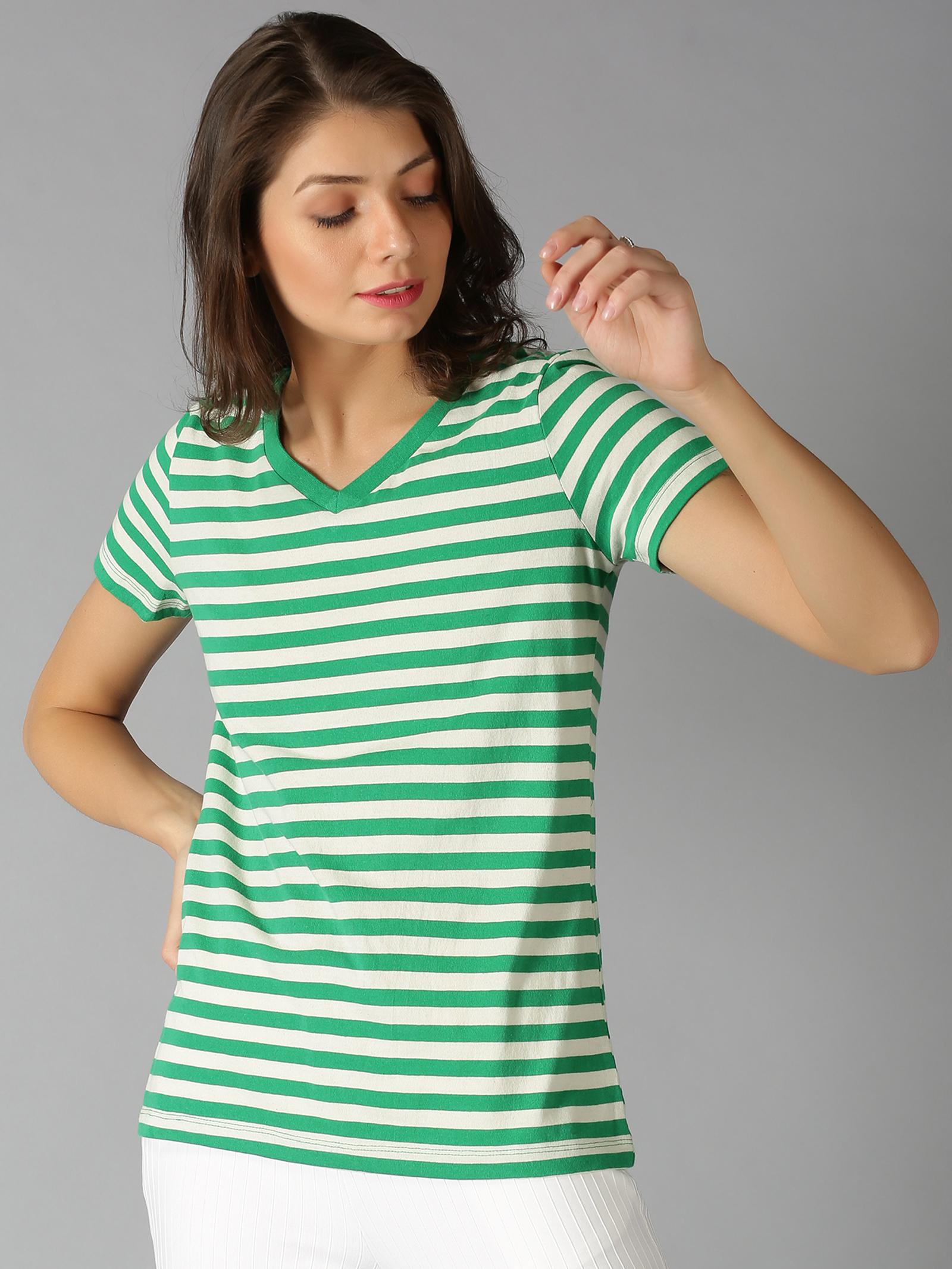 UrGear | UrGear Striped Women V Neck Green T-Shirt