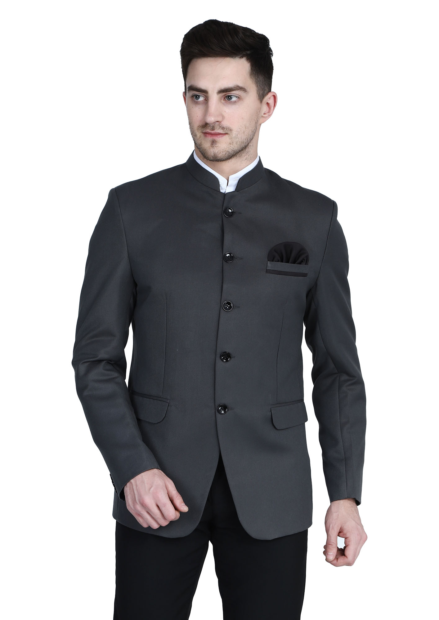 TAHVO | Grey Bandgala Blazer With Hanky