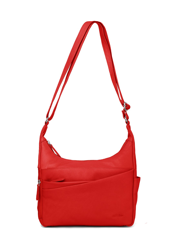 WildHorn   WildHorn Upper Grain Genuine Leather Ladies Sling, Crossbody, Shoulder Bag with Adjustable Strap - Red