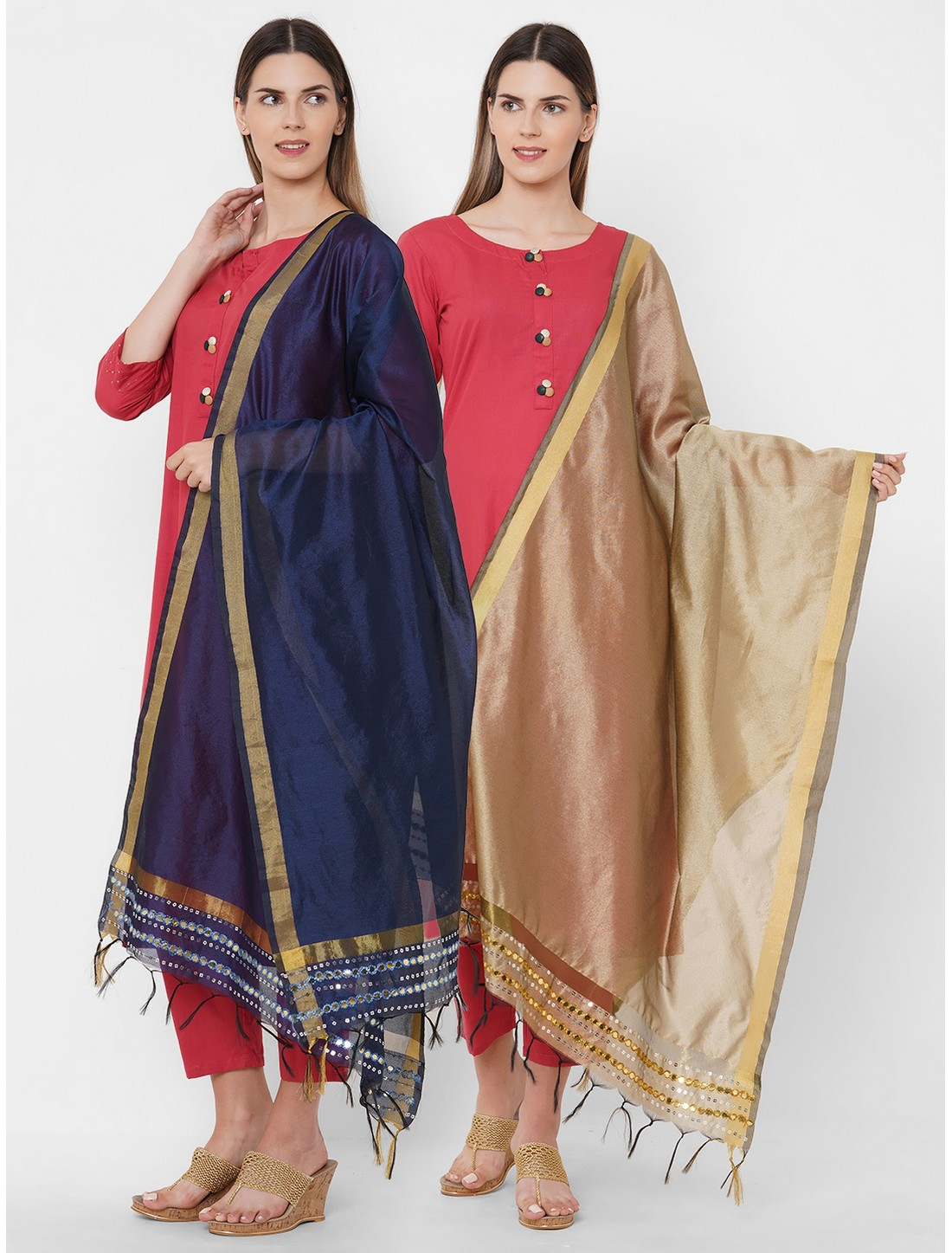 Get Wrapped | Get Wrapped Polyester Gold Border Multicolor Dupatta with Embroidery - Combo Pack of 2