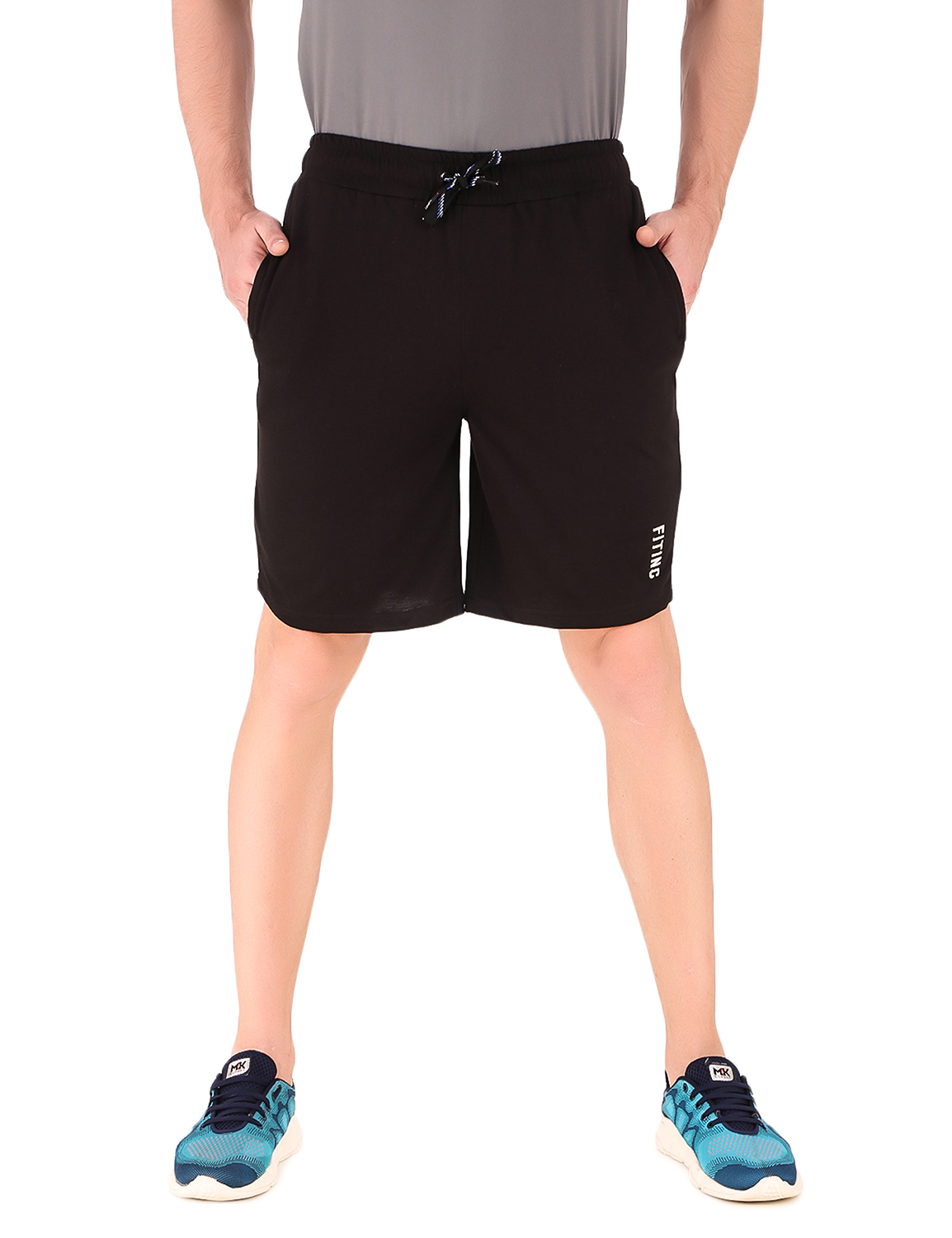 Fitinc | Fitinc Cotton Black Shorts for Men with Embroidery Logo