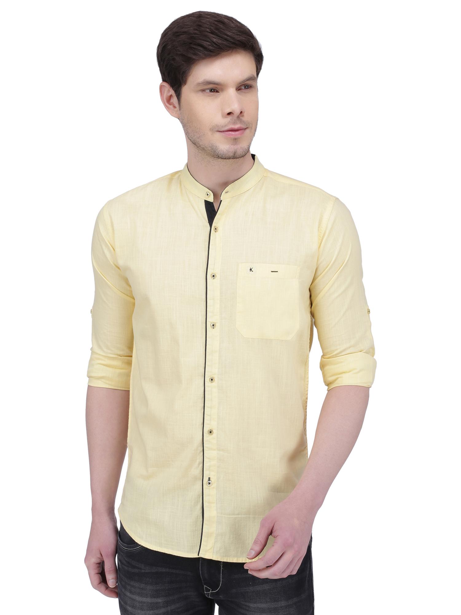 Kuons Avenue Men's Cream Yellow Linen Cotton Casual Shirt- KACLFS1296YL