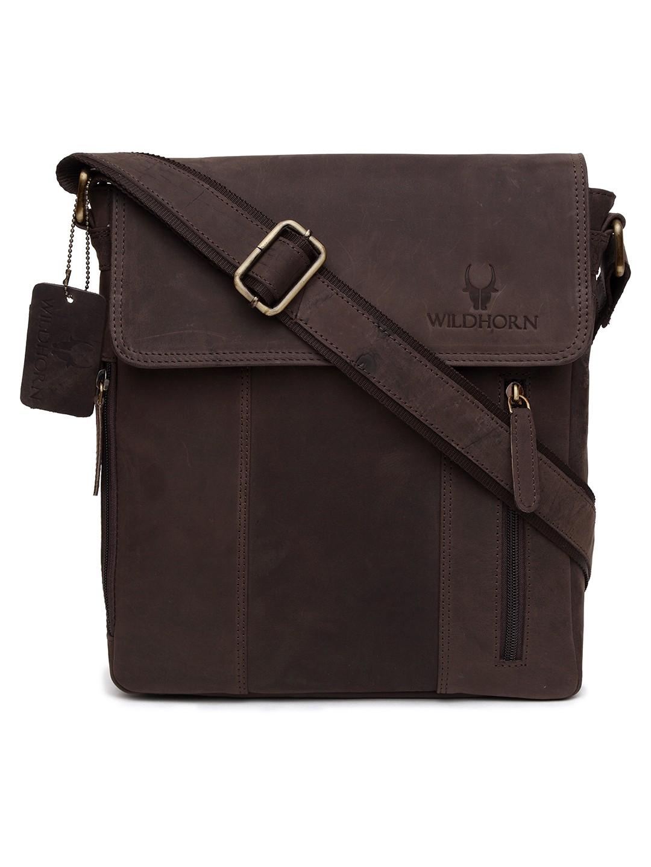WildHorn   WildHorn Genuine Leather Brown Messenger Bag for Men