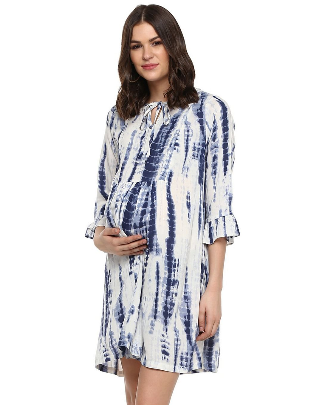 Mothercare   Momsoon women maternity three-fourth sleeves casual dress-Tye Dye Blue