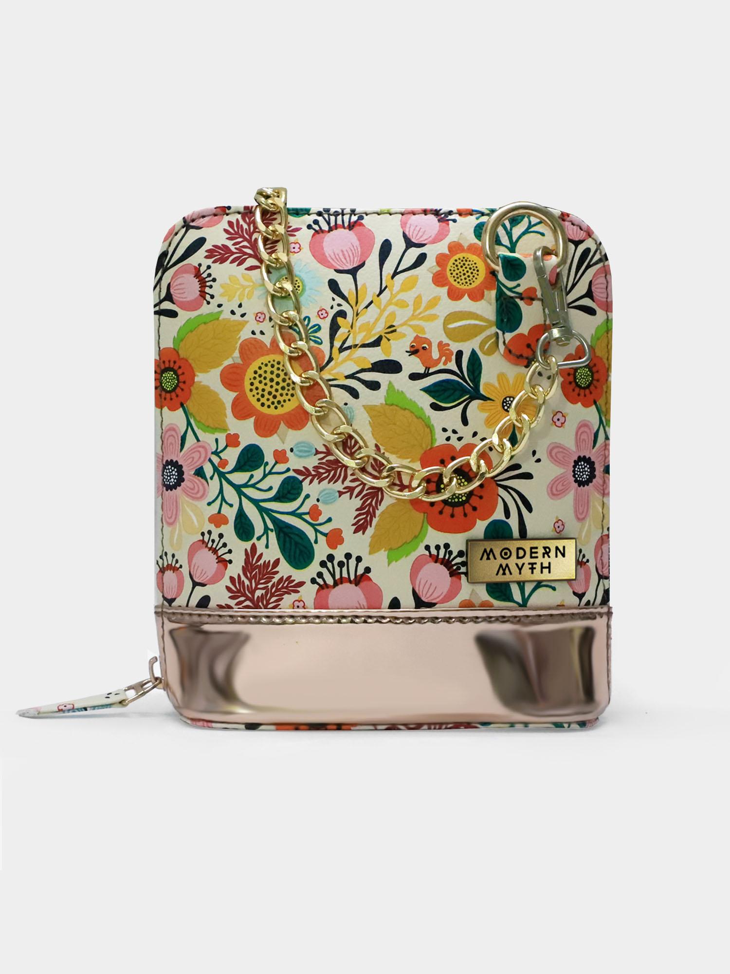Modern Myth   Floral Paradise Caravan Printed Rosegold Crossbody Bag