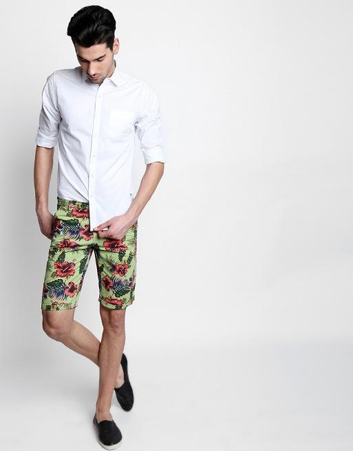 Hemsters | Hemsters green print slim fit short