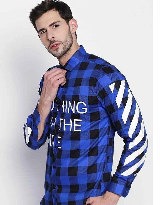 Hemsters   Hemsters Blue And Black Regular Collar Full Sleeve Check Shirt