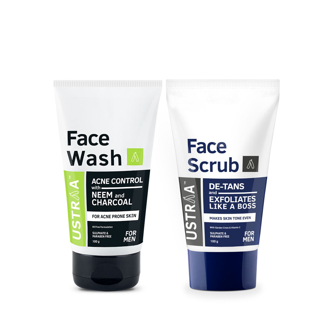 Ustraa | Face Scrub(D-tan) & Face Wash-Neem (Pack of 2)