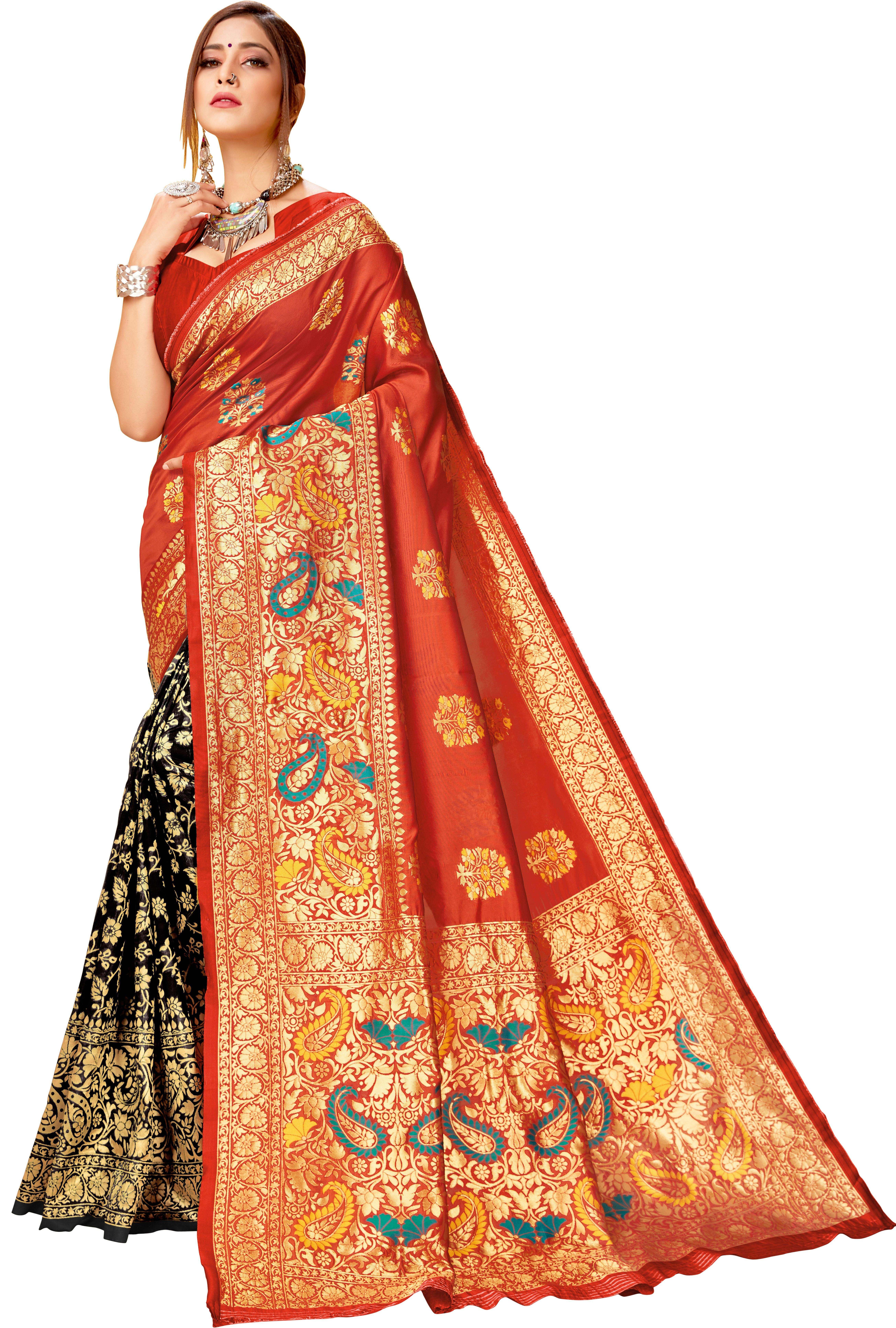 Glemora Red & Black Lichi Cotton Virasat Saree With Unstitched Blouse