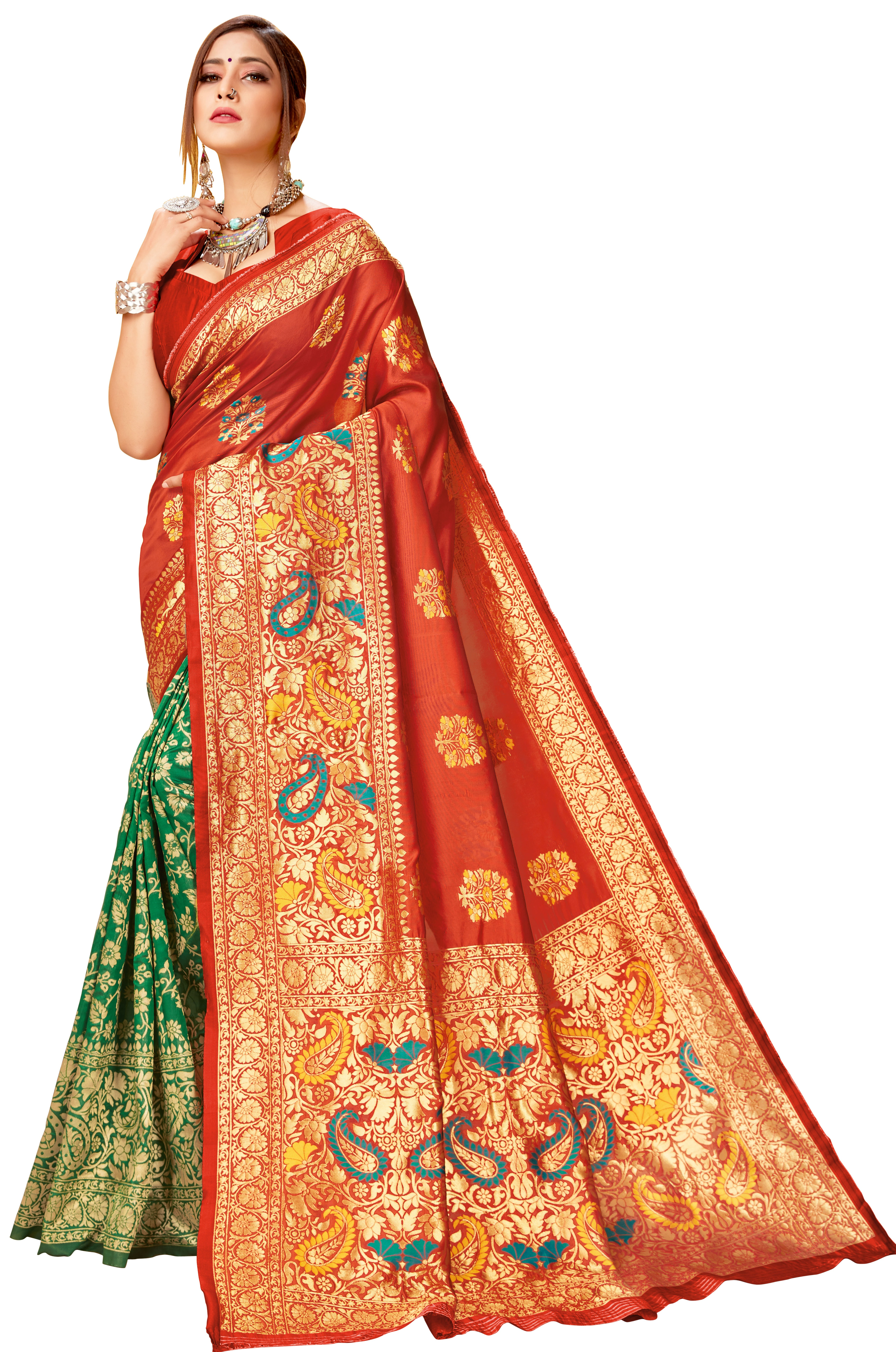 Glemora | Glemora Red & Green Lichi Cotton Virasat Saree With Unstitched Blouse