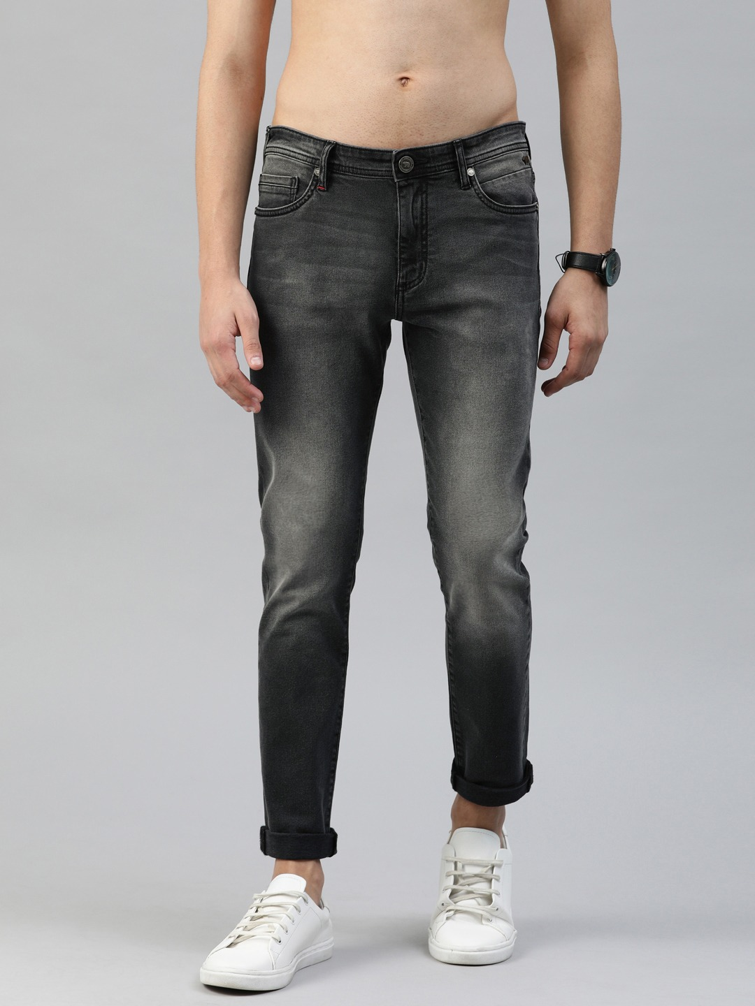 The Bear House | Men Grey Tapered Slim Fit Mid-Rise Clean Look Stretchable Jeans