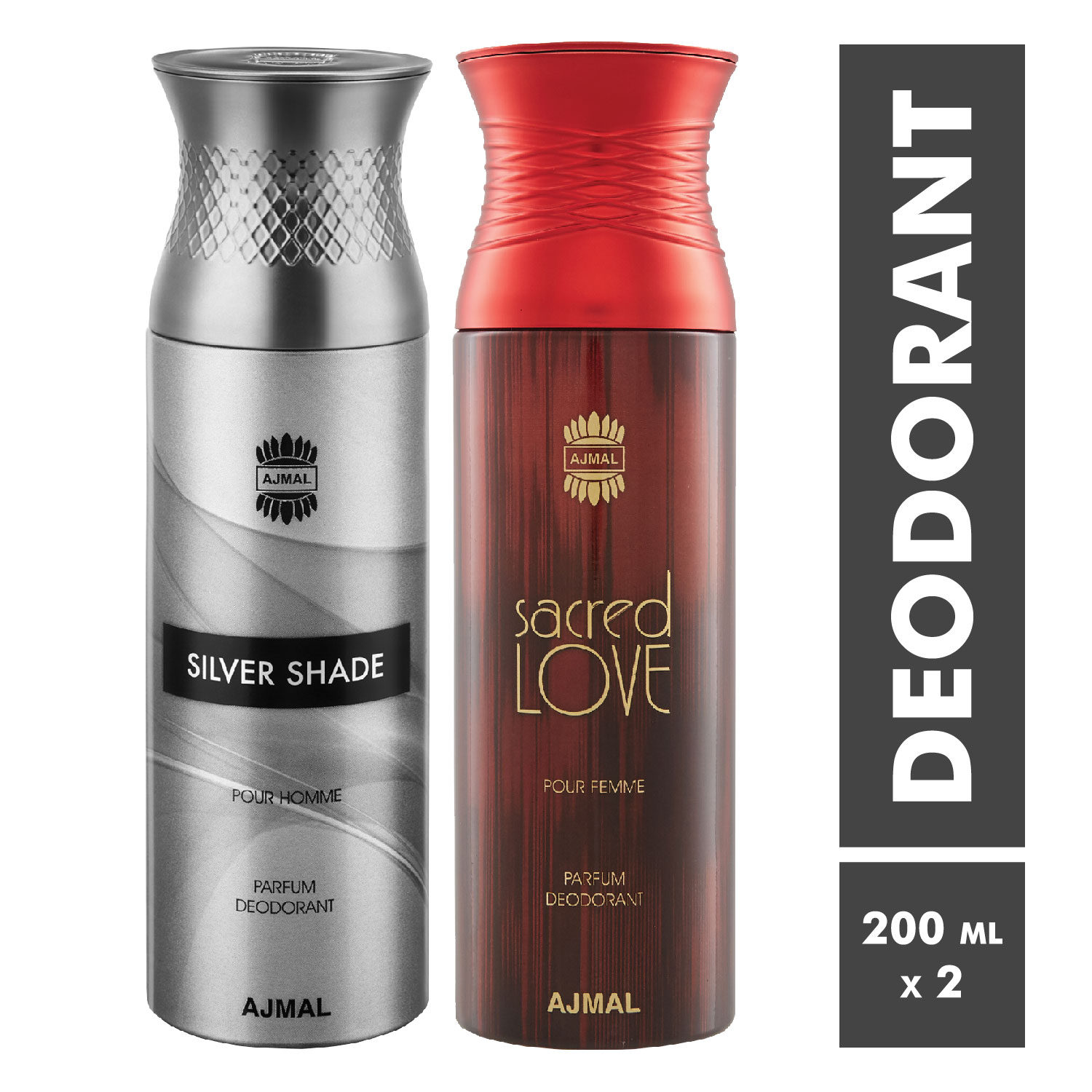 Ajmal | Silver Shade and Sacred Love Deodorant Spray - Pack of 2