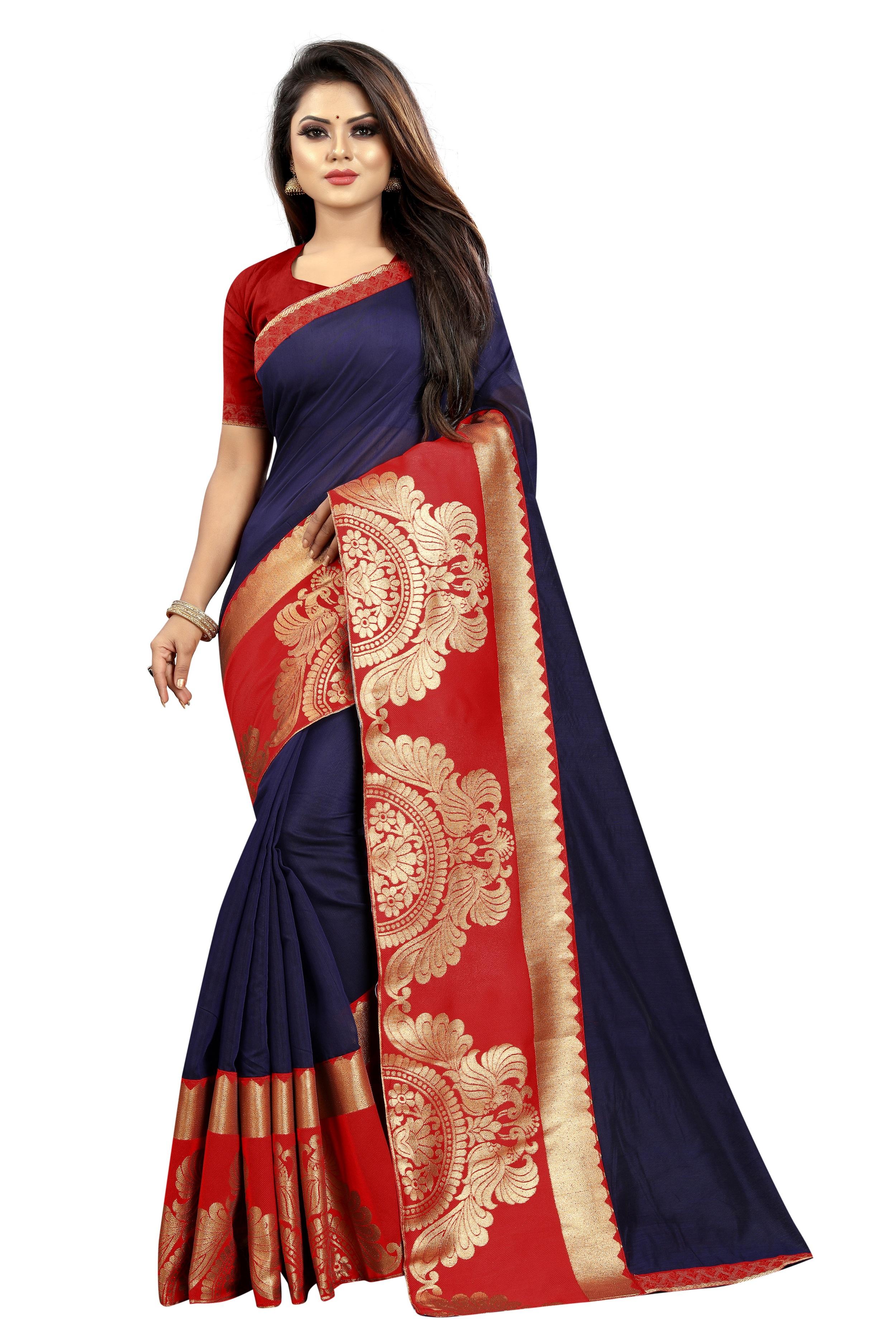 JINAL & JINAL | JJ Women's Chanderi Cotton Saree - TT NAVY