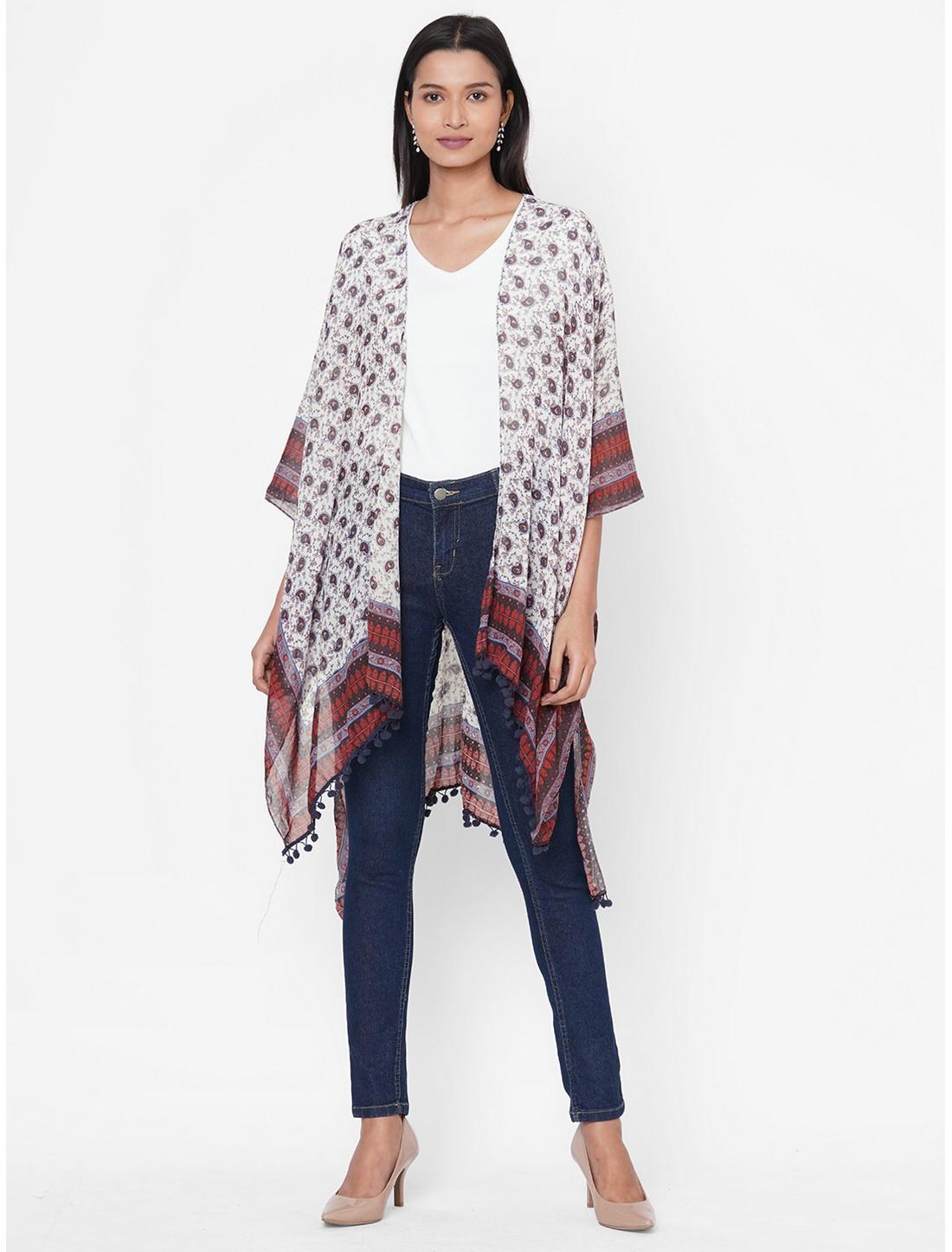 Get Wrapped | Get Wrapped White Printed Kimono with fancy Pom Pom for Women