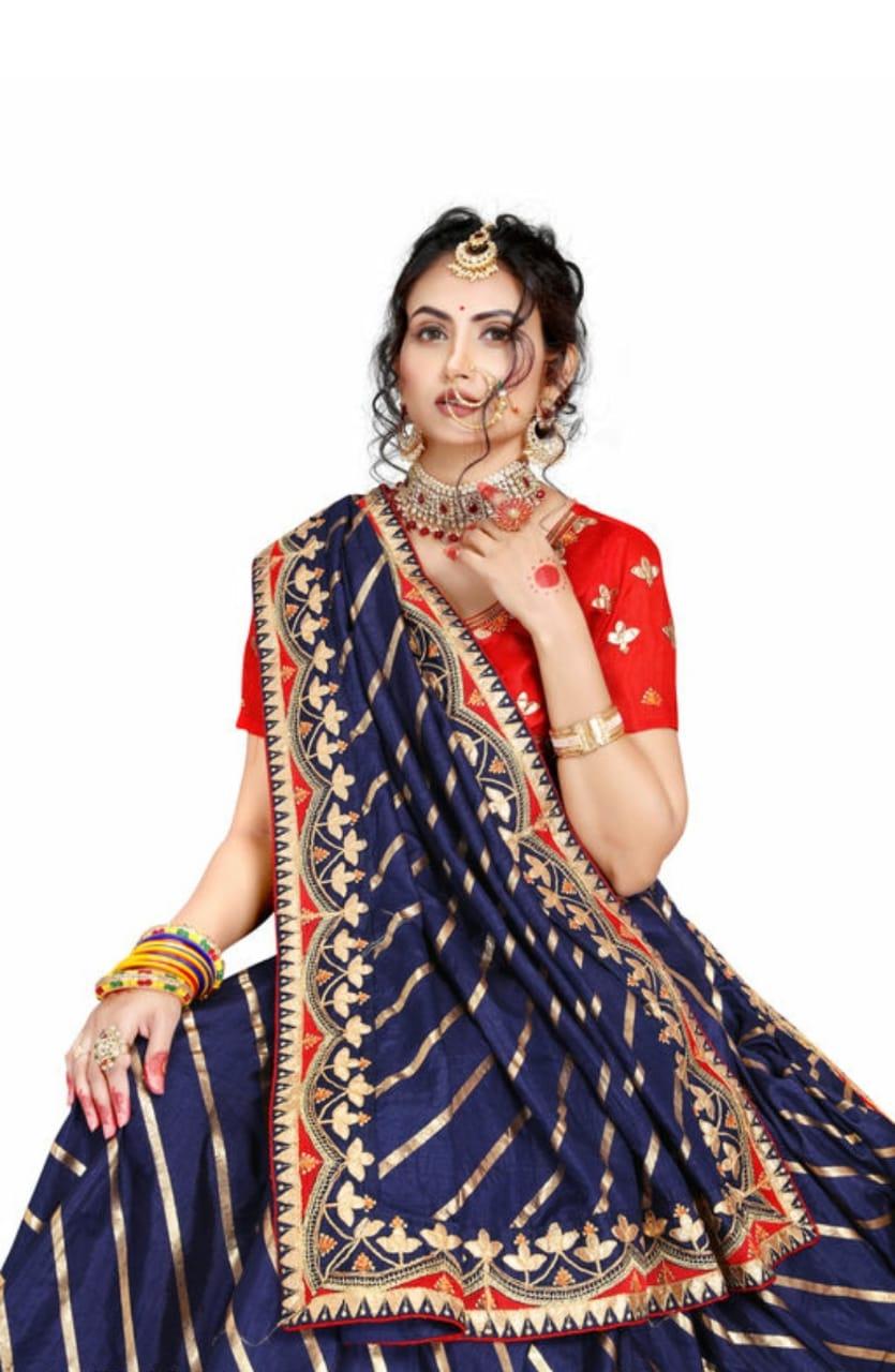 AWRIYA   AWRIYA Women's Silk Saree with Foil Print & Embroidery Gota Patti Work - LATA NAVY
