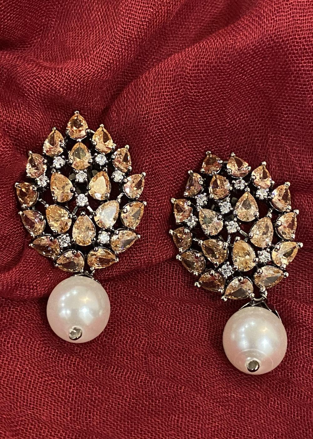 Swabhimann Jewellery | Swabhimann Jwellery Turtle Shell Studs Sandstone with Pearl Drop