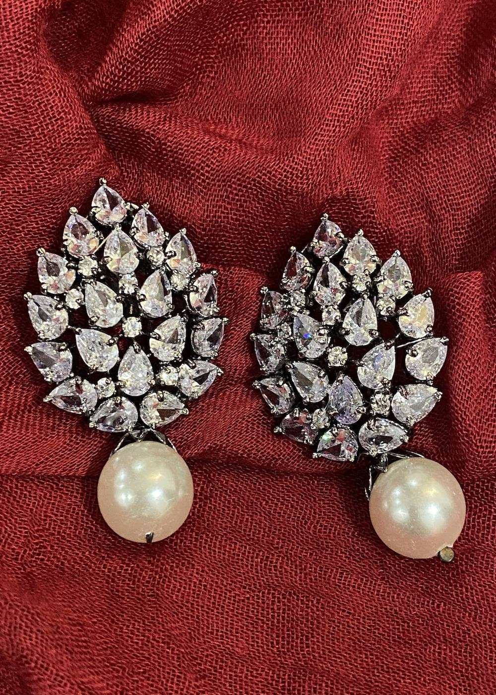 Swabhimann Jewellery | Swabhimann Jwellery Turtle Shell Studs White with Pearl Drop
