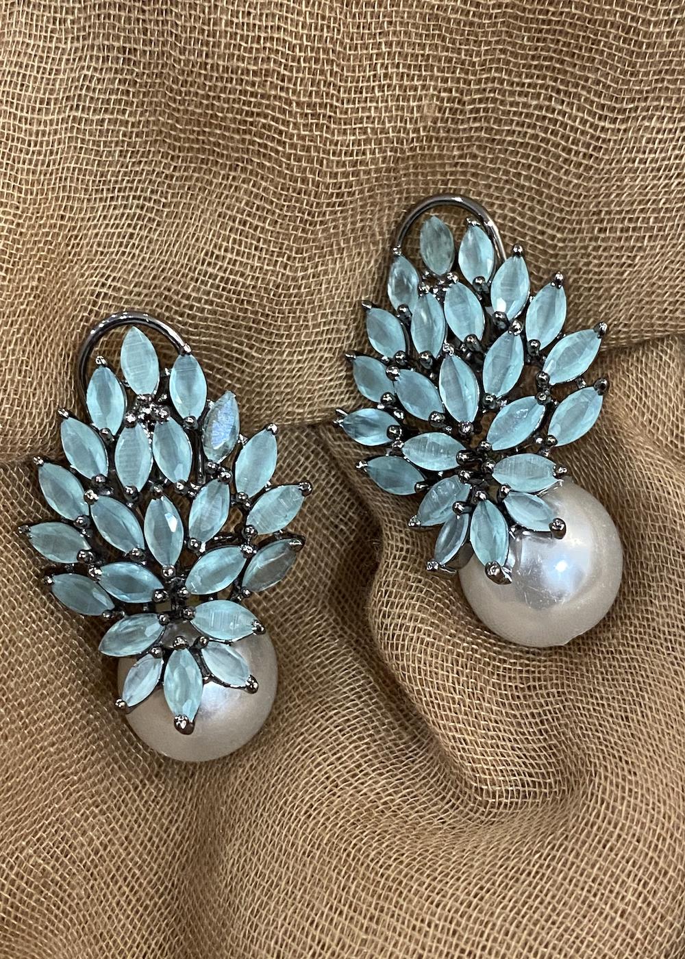Swabhimann Jewellery | Swabhimann Jwellery Turtle Wing Pearls Studs Mint