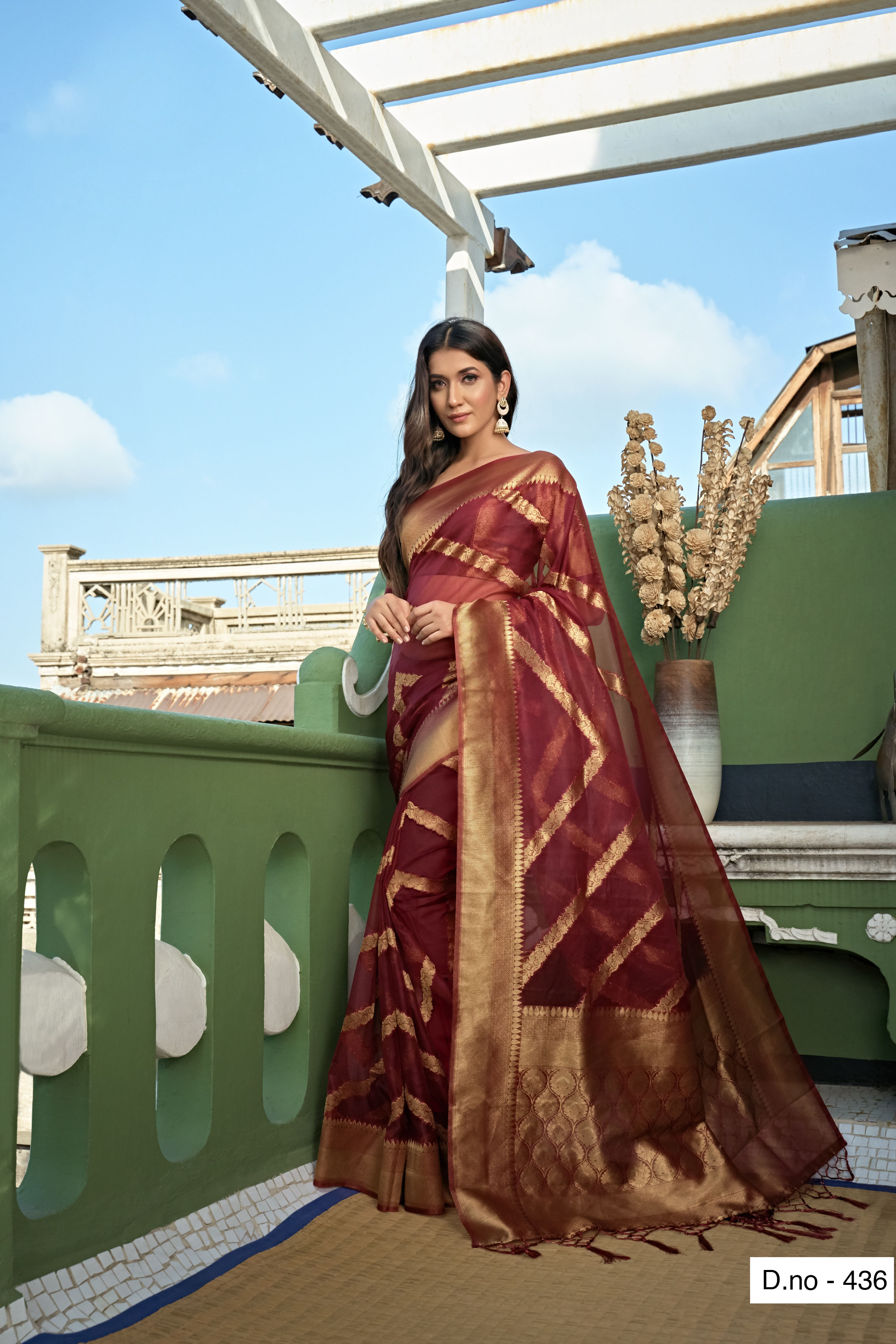 POONAM TEXTILE | Fashion Banaras Maroon Organza Silk Hand Dyed Zari Festive Saree