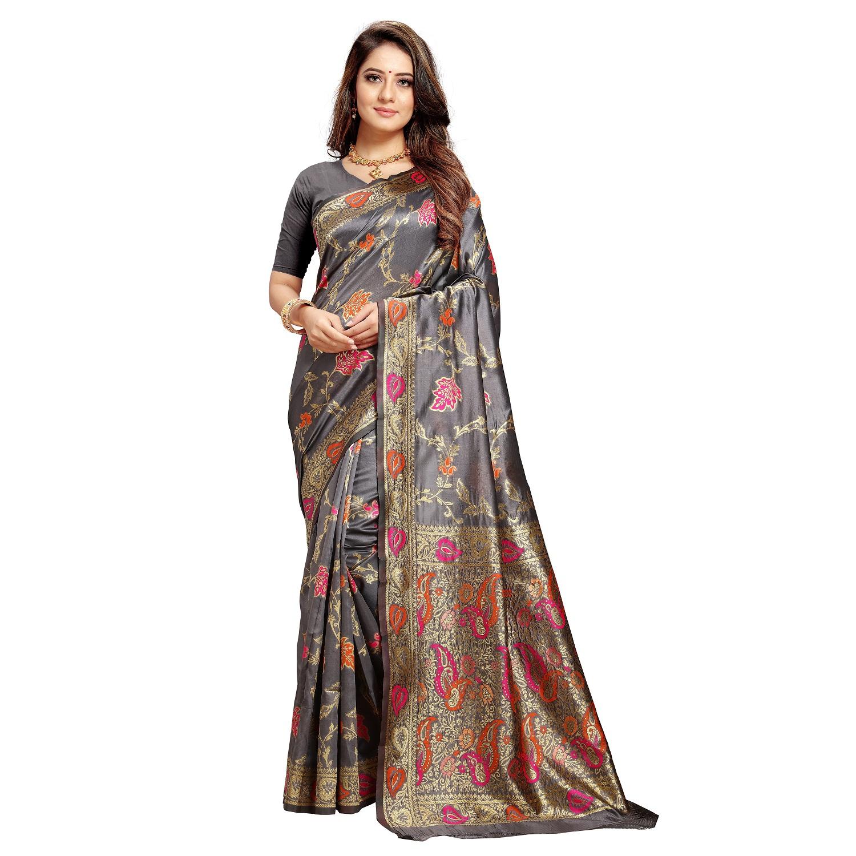POONAM TEXTILE | Poonam Textile Woven Banarasi Art Silk Saree (Grey)