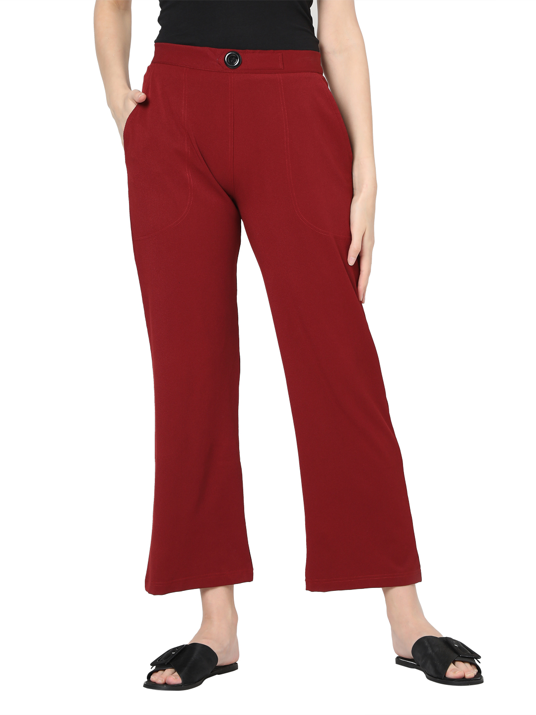 Smarty Pants | Smarty pants women's cotton stretchable wine color ankle length flared trouser