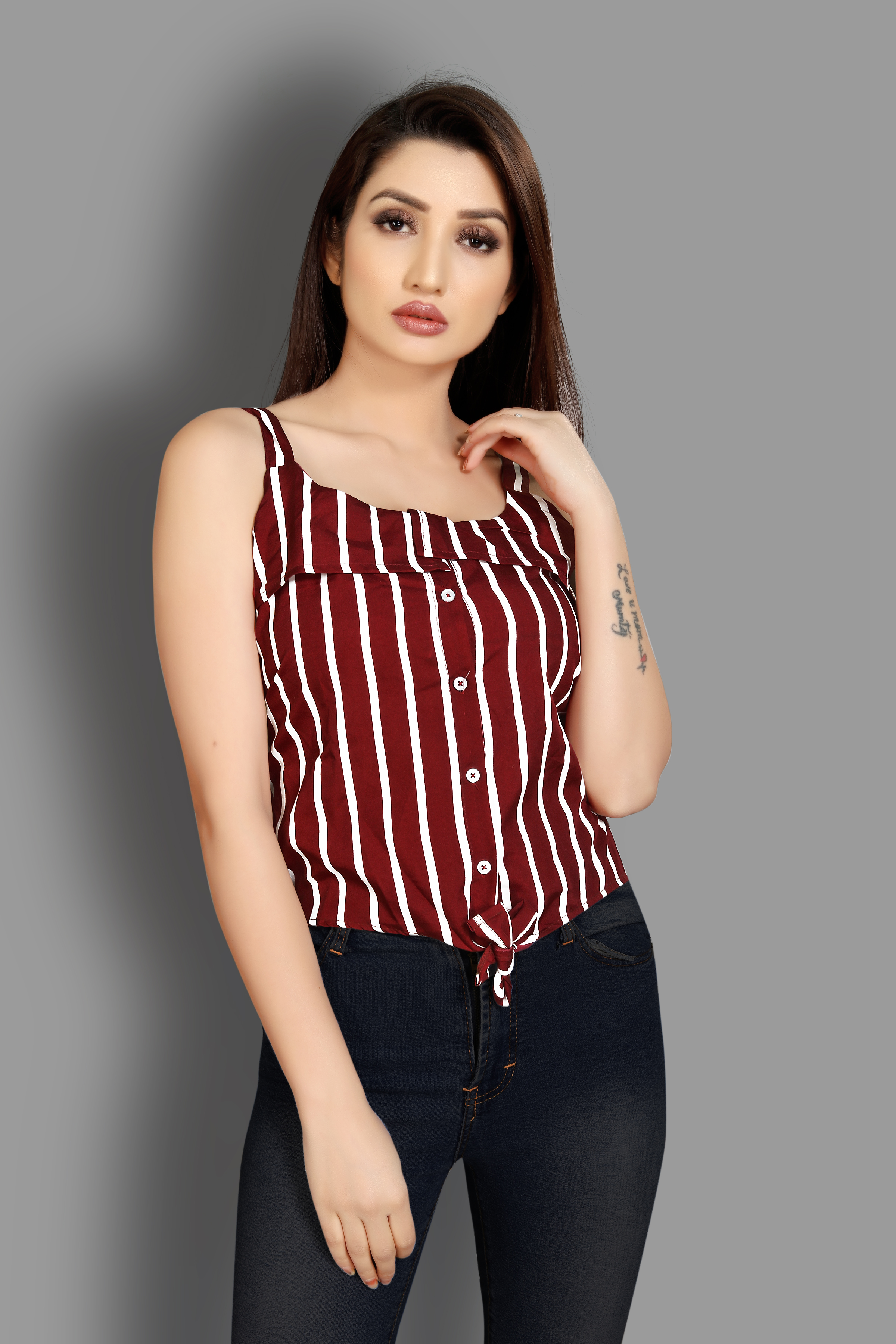 JINAL & JINAL   Casual Sleeveless Striped Women Maroon Top - JANNAT
