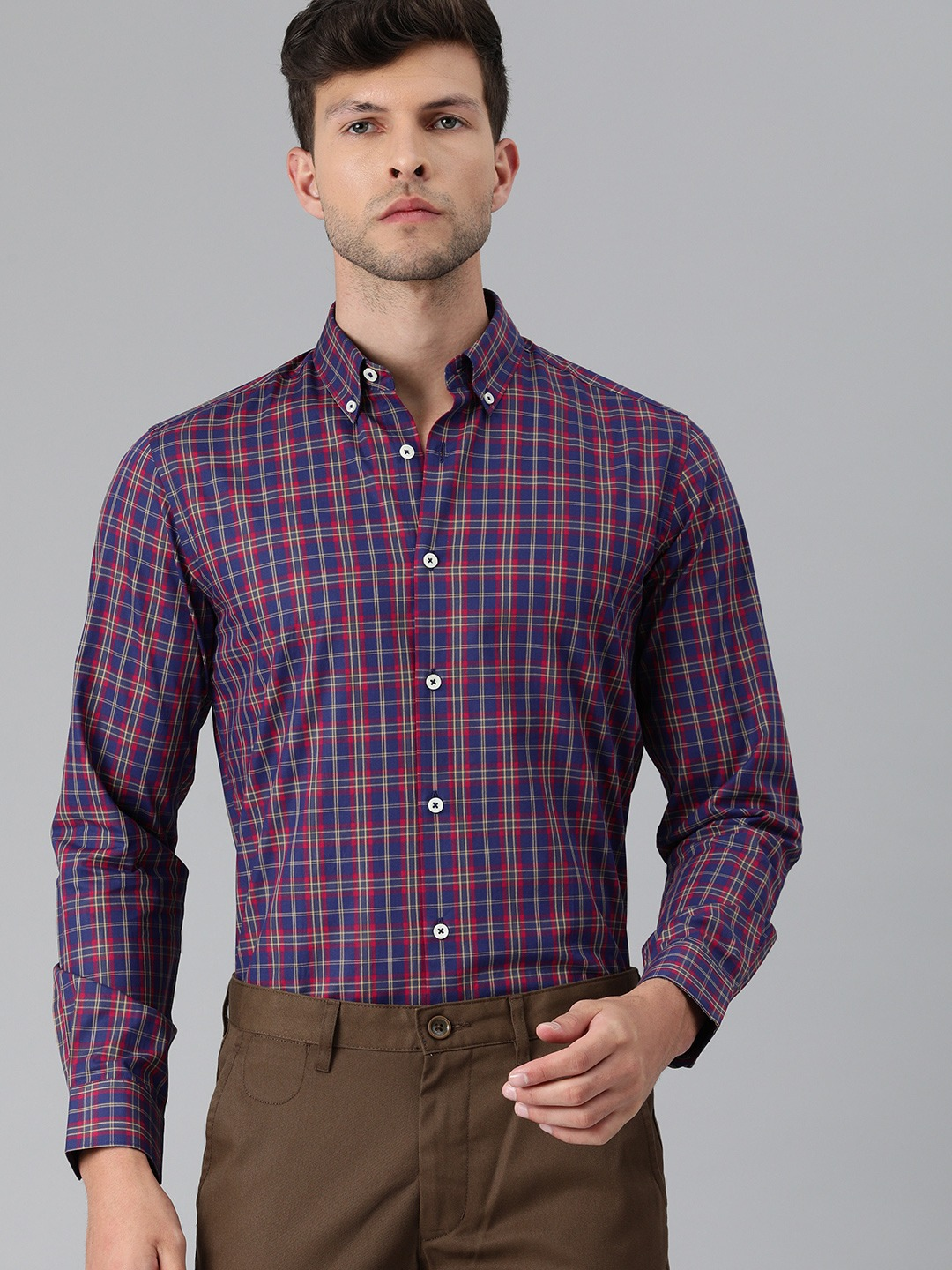 The Bear House   Men Navy Blue & Red Slim Fit Checked Giza Cotton Formal Shirt
