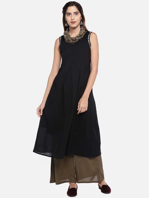 Ethnicity | Ethnicity Black Cotton Dobby Women Dress