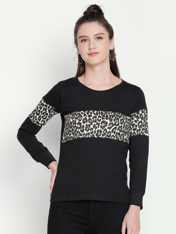 Jhankhi | Black Animal Print Full Sleeves T-Shirt