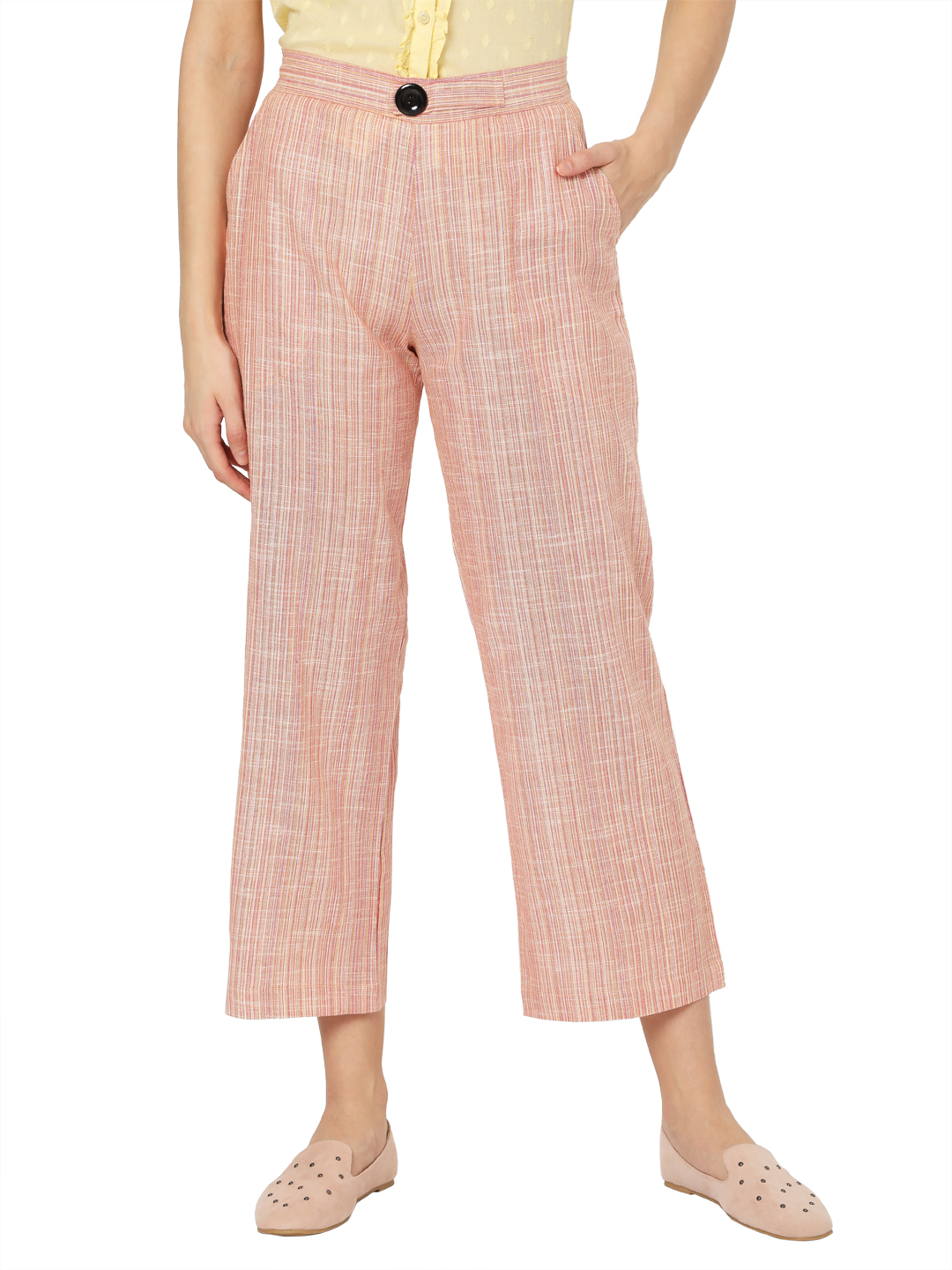 Smarty Pants | Smarty pants women's pure cotton pastel pink ankle length flared trouser