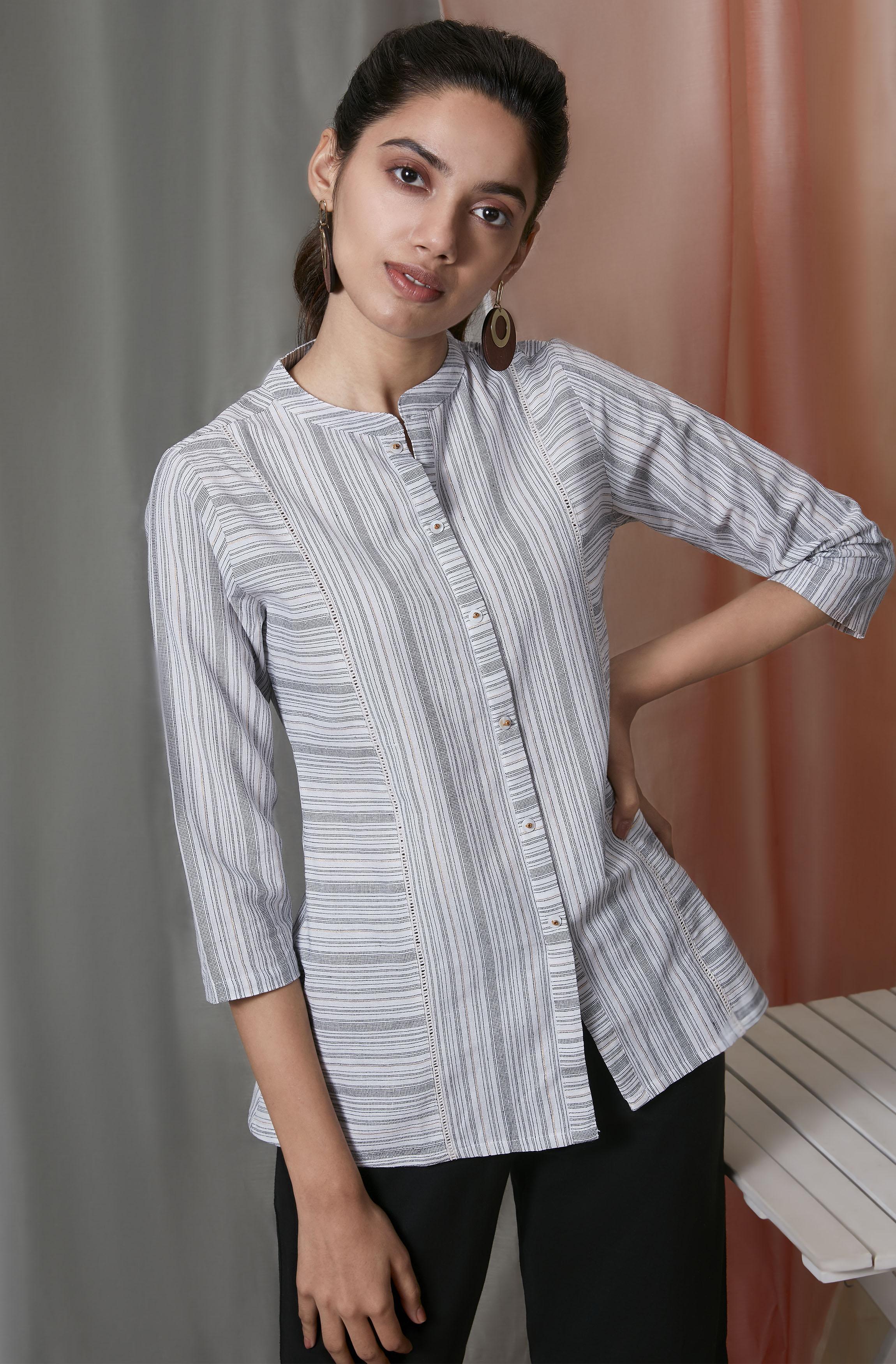 Janasya | Janasya Women's White Weaved Cotton Top