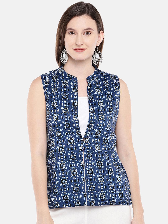 Ethnicity   Ethnicity Sleeveless Cotton Indigo Women Jackets