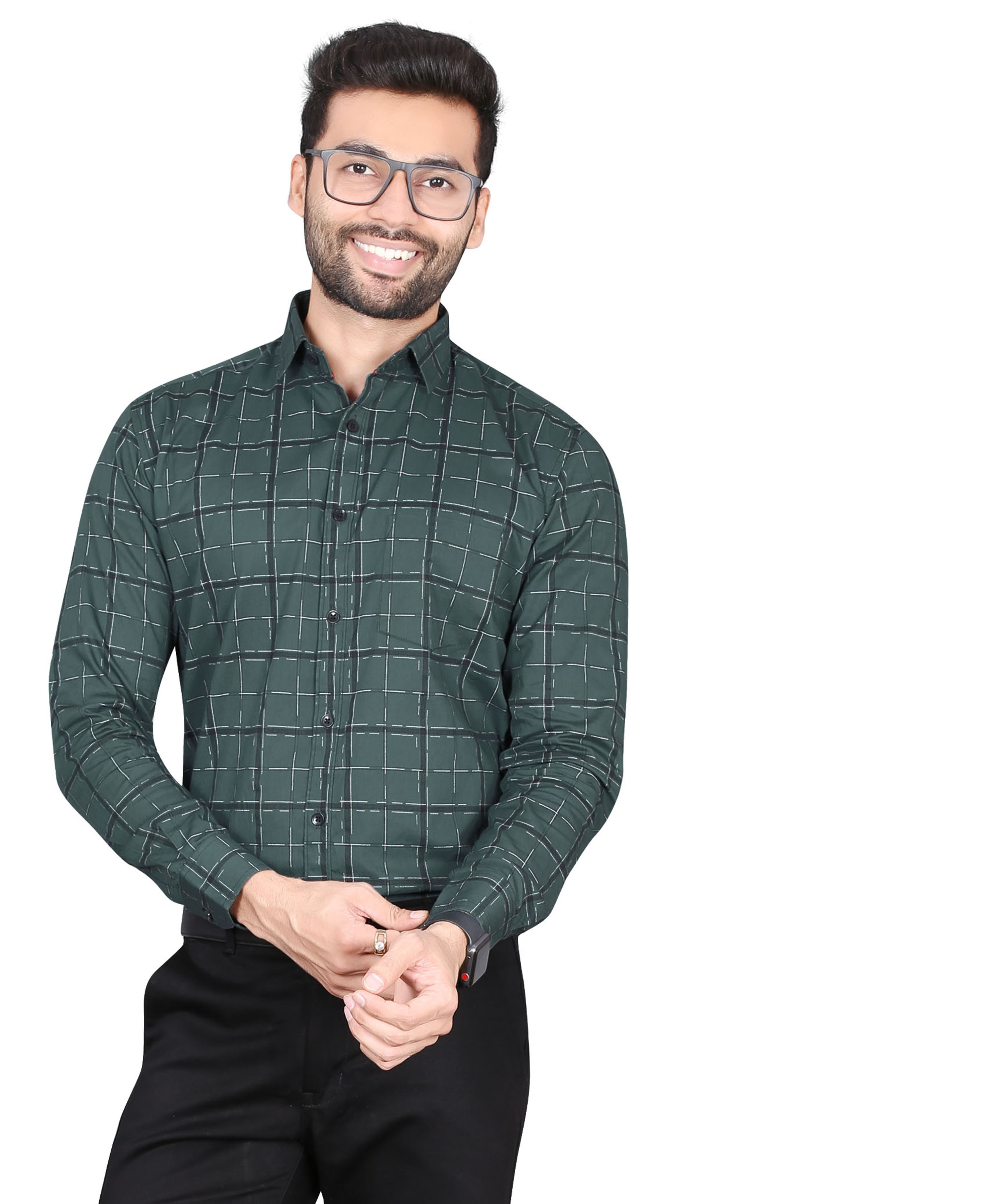 5th Anfold | Fifth Anfold Pure Cotton green Checkered Full Sleev Spread Collar Mens Formal shirt