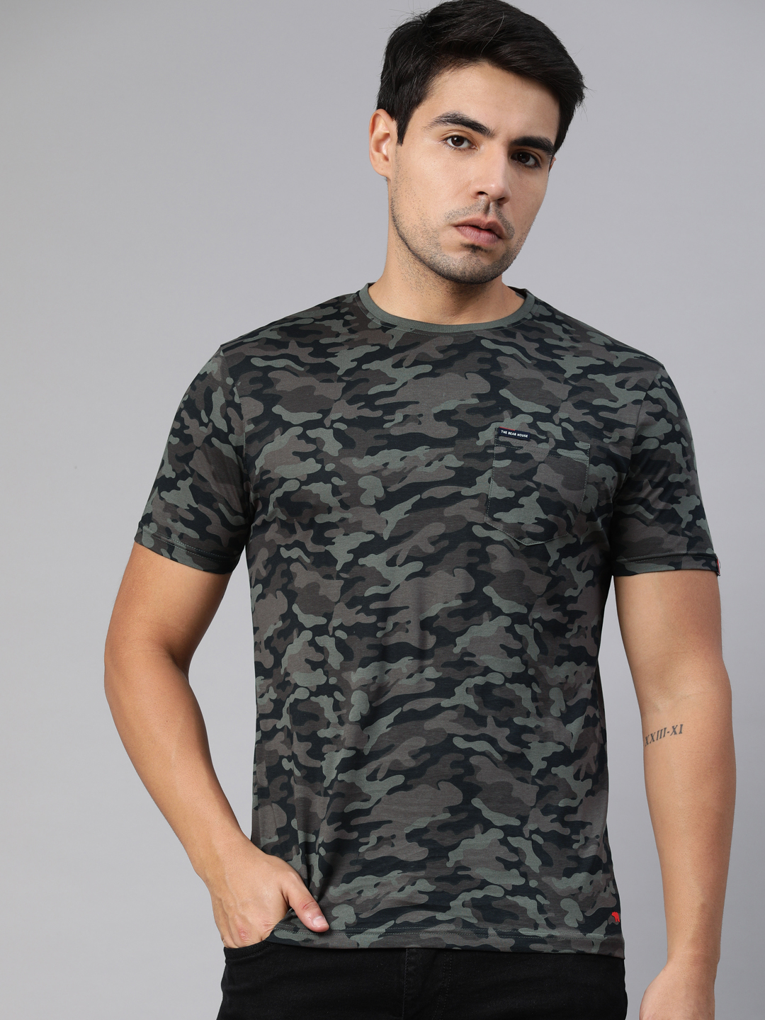 The Bear House   Round Neck Printed T-Shirt