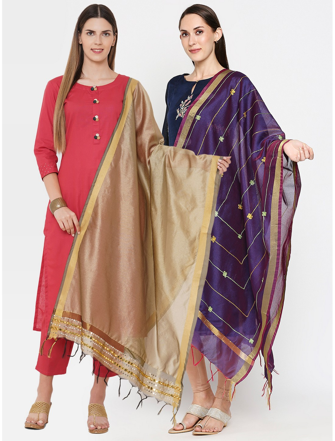 Get Wrapped | Get Wrapped Polyester Gold Border Dupatta with Embroidery for Women - Combo Pack of 2