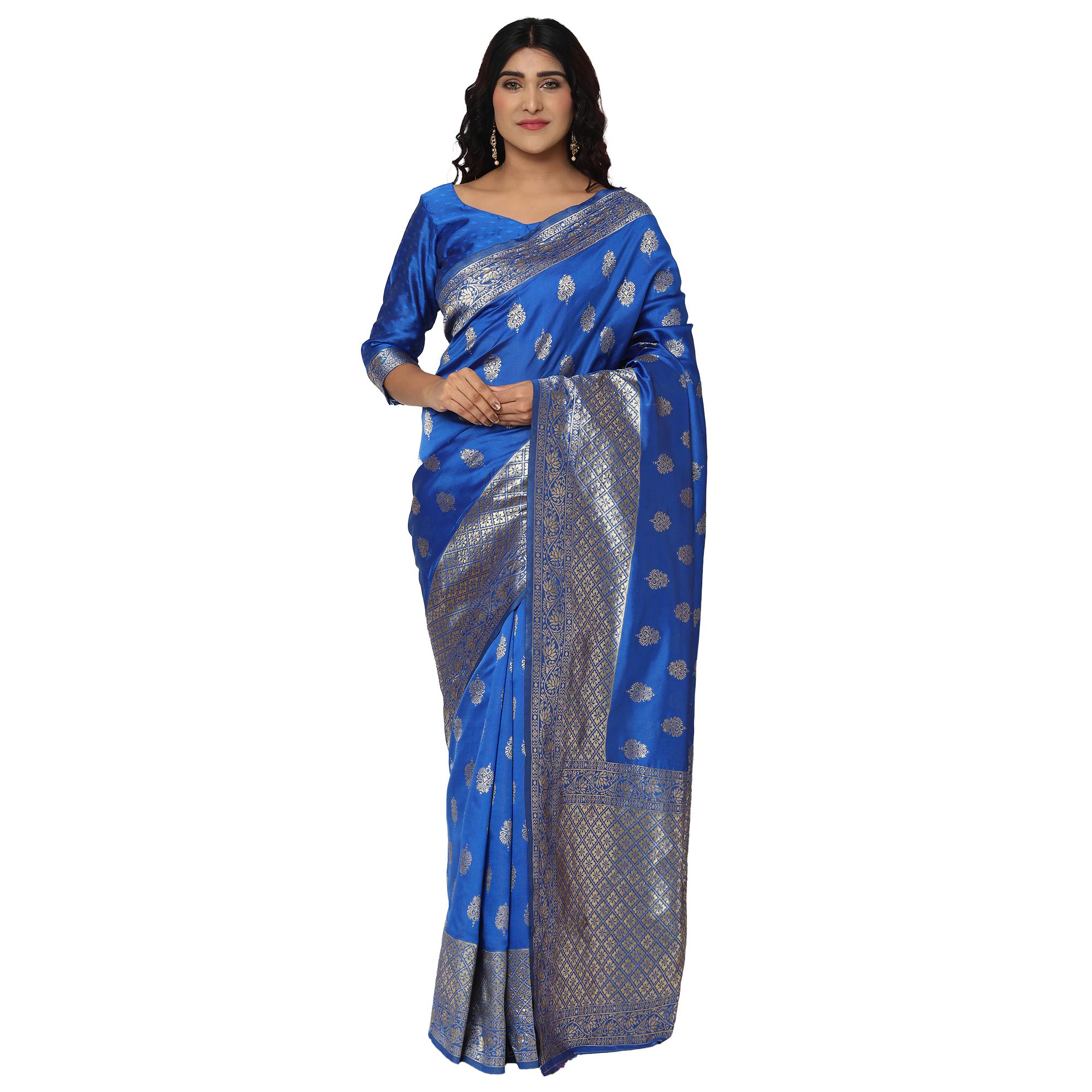 Glemora Blue Designer Ethnic Wear Silk Blend Banarasi Traditional Saree
