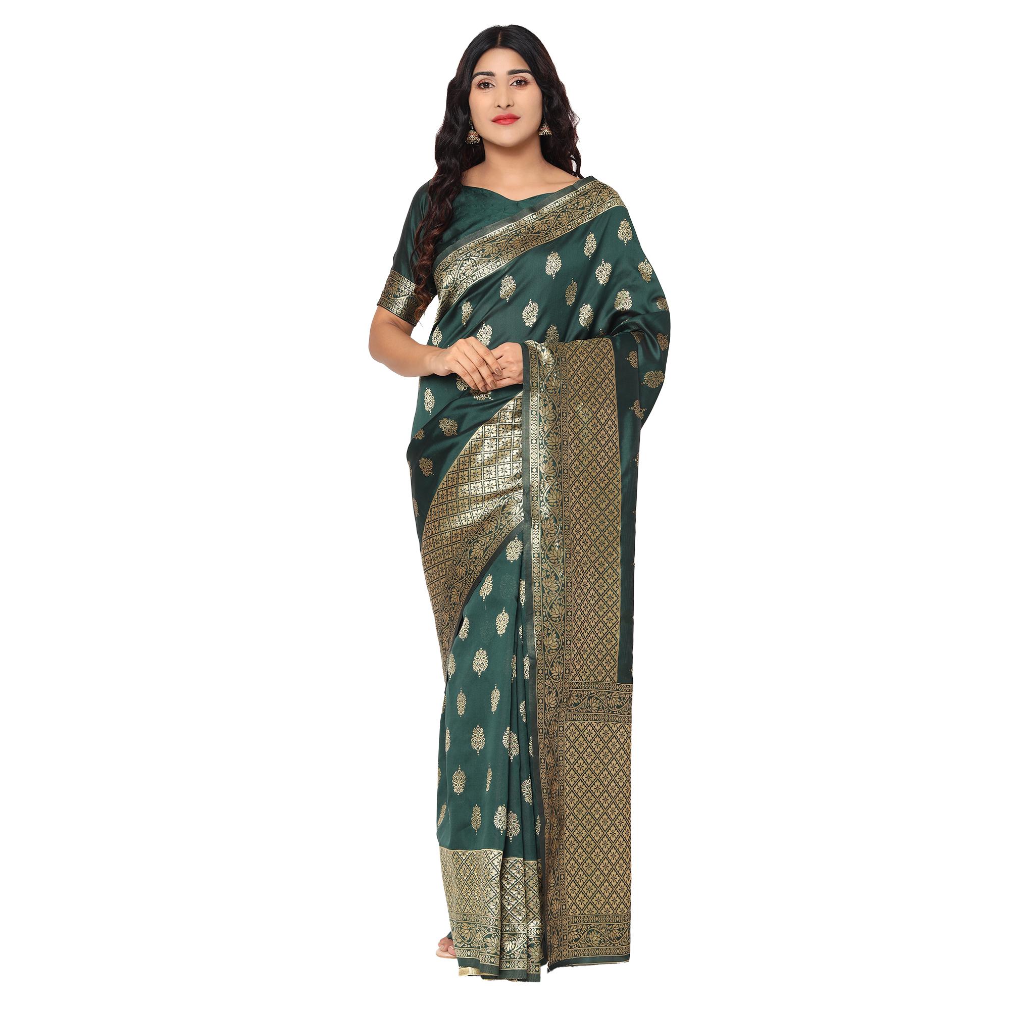 Glemora | Glemora Green Designer Ethnic Wear Silk Blend Banarasi Traditional Saree