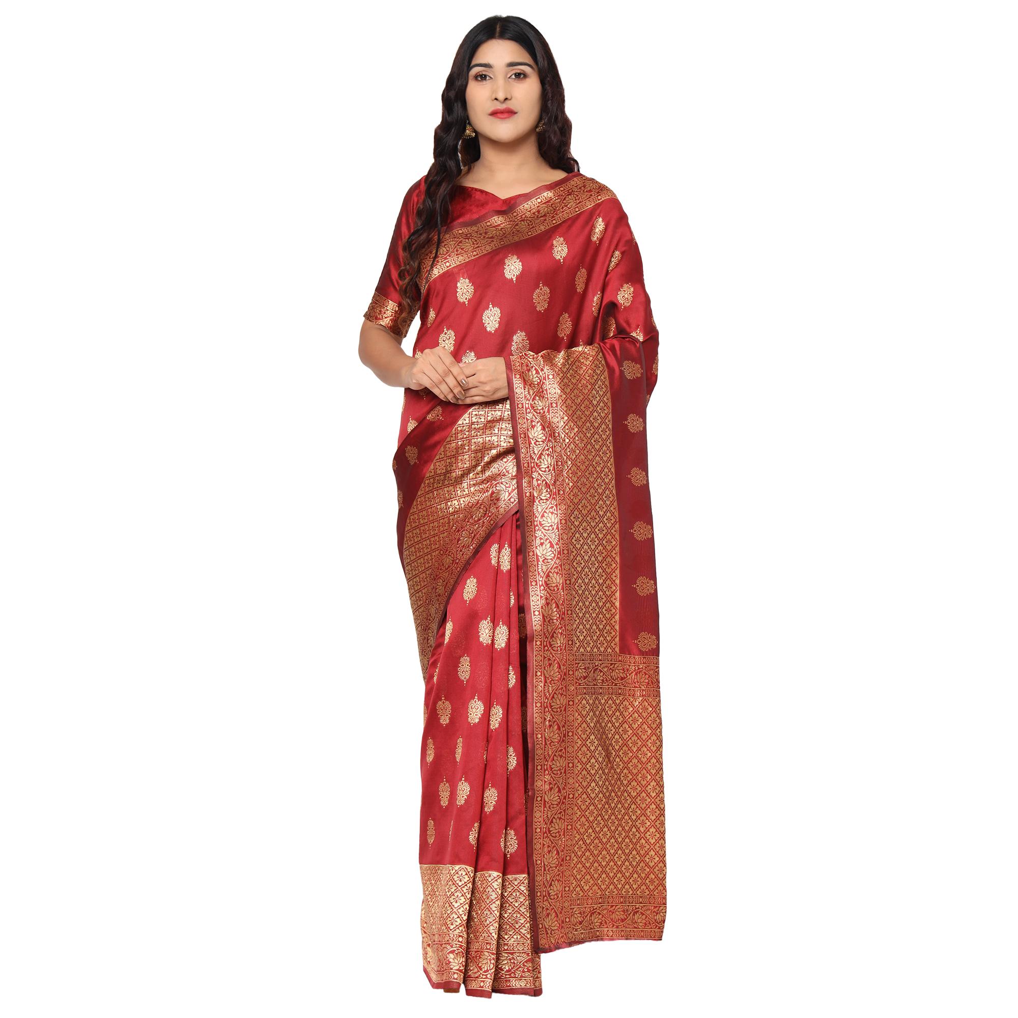 Glemora Maroon Designer Ethnic Wear Silk Blend Banarasi Traditional Saree